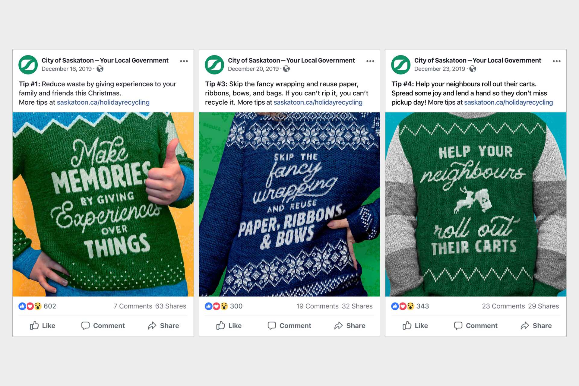 Facebook Posts for the RBUS campaign where engagement metrics peaked 600 unique interactions
