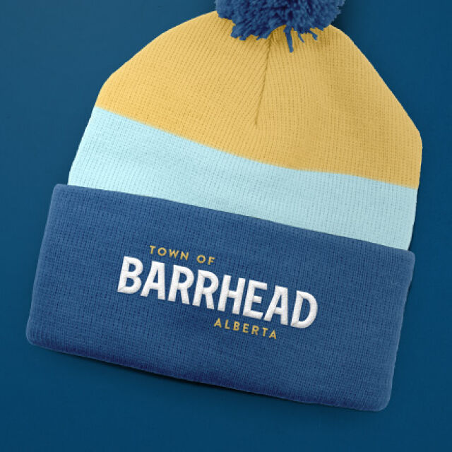 Barrhead branded toque in blue and gold
